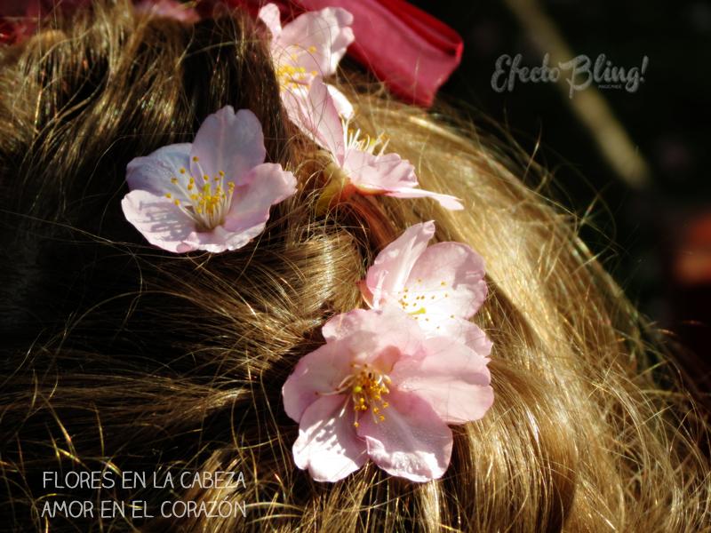 flores de cerezo en la cabeza